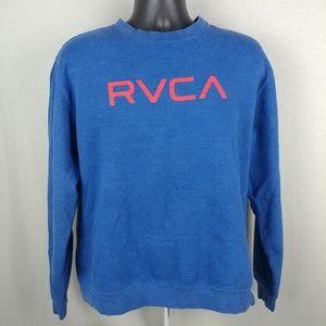 RVCA Blue Red Logo Sweatshirt LG